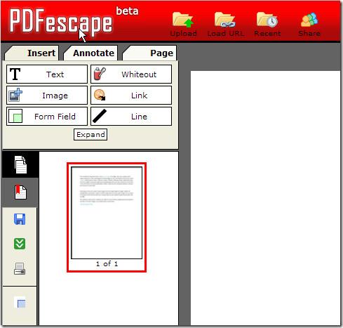 PDFescape controls