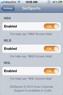SiriSports Settings