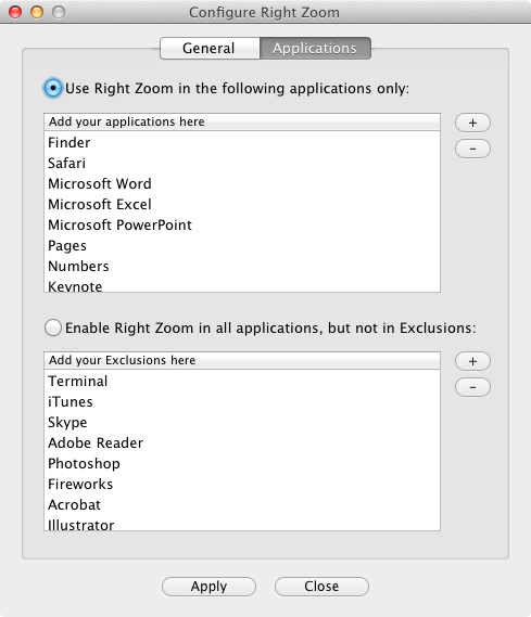 Right Zoom  apps