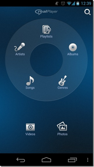 RealPlayer-Android-Home