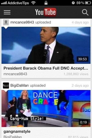 YouTube iOS App Home