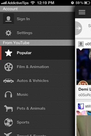 YouTube iOS App Menu