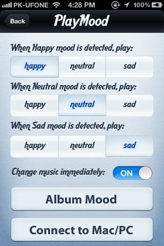 PlayMood settings