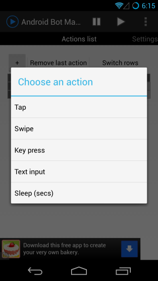 Android Bot Maker actions