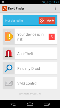 Droid Finder_Home Screen