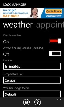 Lock Manager WP8 Weather