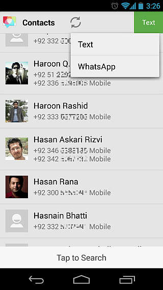 Disa for Android Contacts Text