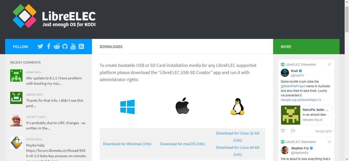 LibreELEC Downloads page